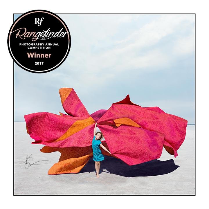 rangefinder magazine annual photography contest winner pink and orange blankets salt plains oklahoma photograph girl composite illusion photography